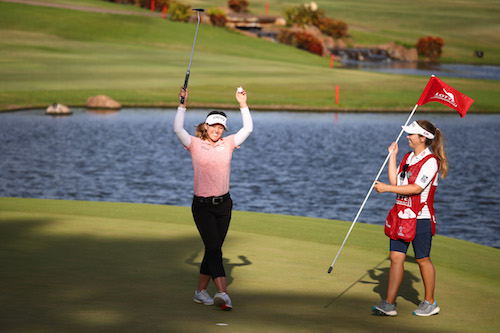 Brook Henderson celebrates her victory at the LPGA Lotte Championship