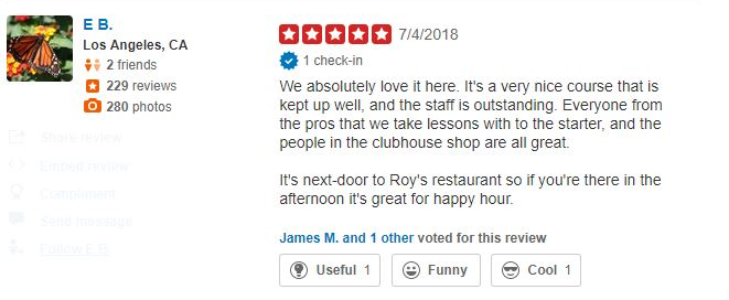 A Yelp review for Ko Olina Golf Club