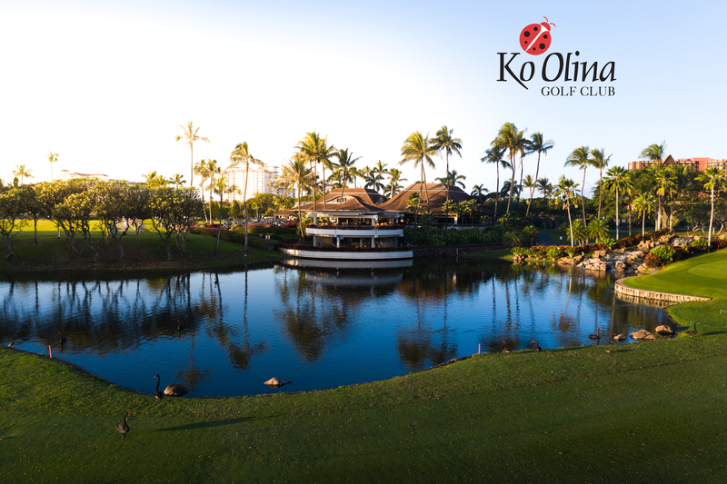 Image of a pond at Ko Olina Golf Club, with the club logo in the upper right corner