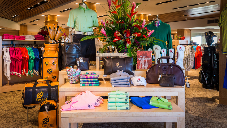 Interior shot of the pro shop at Ko Olina Golf Club